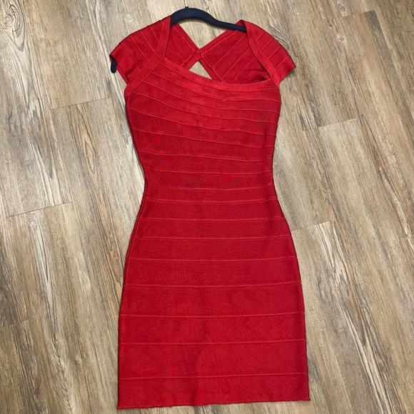HERVE LEDGER CUT OUT WINE RED DRESS